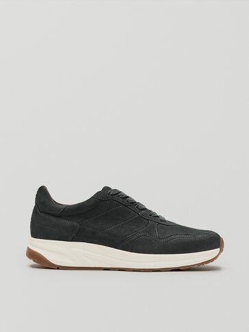 Petroleum blue nubuck leather trainers