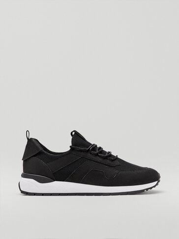 Black nubuck leather trainers