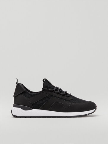 Black nubuck leather trainers