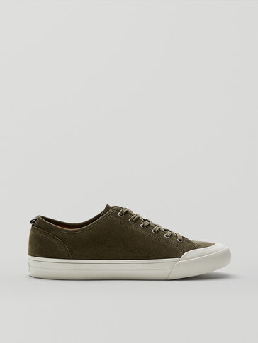 KHAKI LEATHER TRAINERS