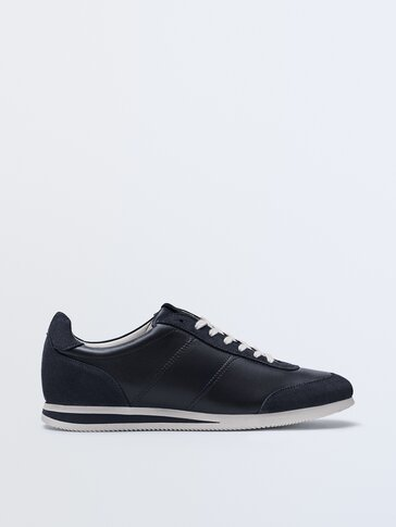 Blue nappa leather trainers with sole detail