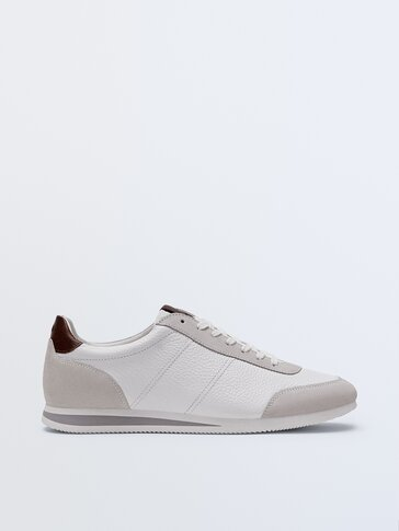 White nappa leather trainers with sole detail