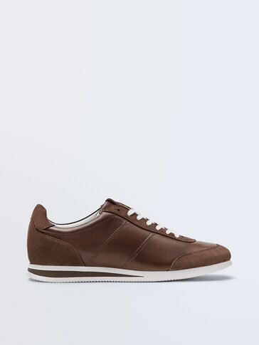 Brown nappa leather trainers with sole detail