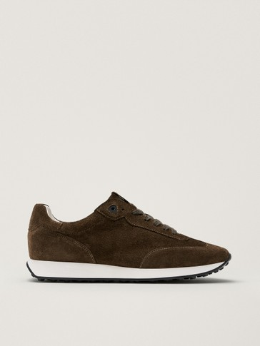 Khaki split suede leather trainers