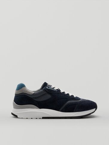 BLUE COMBINED LEATHER SNEAKERS