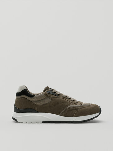 KHAKI CONTRASTING LEATHER SNEAKERS