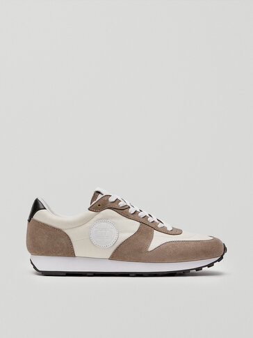 Taupe contrast leather trainers with logo