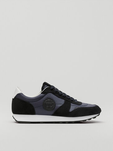 Blue contrast leather trainers with logo