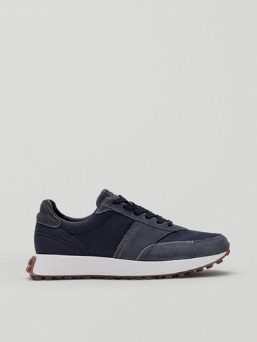 Kombinierte Leder-Sneaker mit Einsätzen in Blau