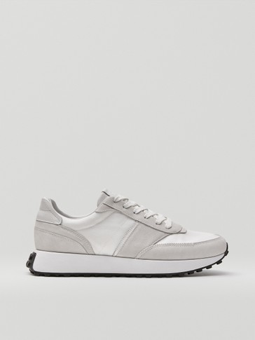 White leather trainers with contrast trims