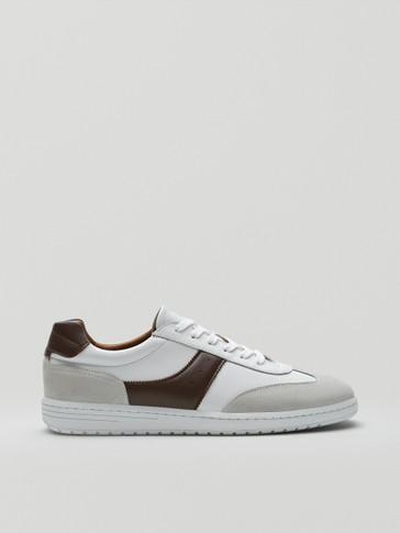 Sepatu kets kulit putih