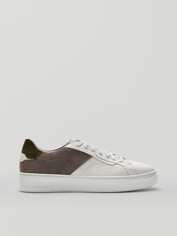 Leather contrast trainers