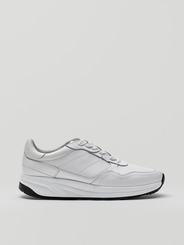 White premium nappa leather trainers