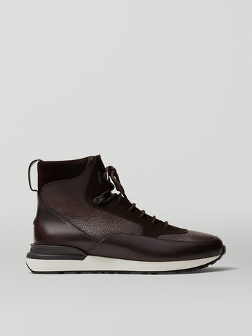 Brown leather high-top trainers