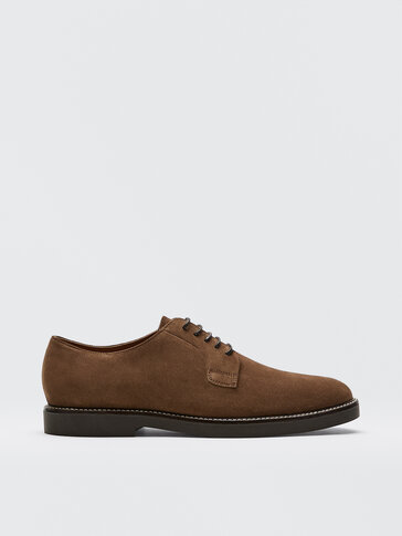 Tan split suede leather derby shoes