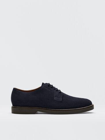 حذاء ديربي أزرق من جلد السويد المقسوم