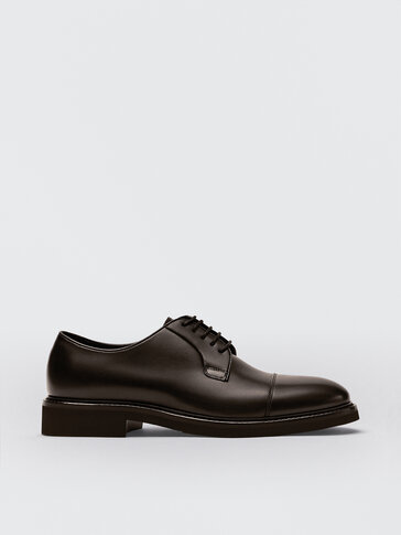Brown nappa leather derby shoes