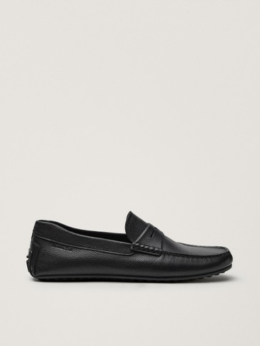 Black leather kiowa loafers