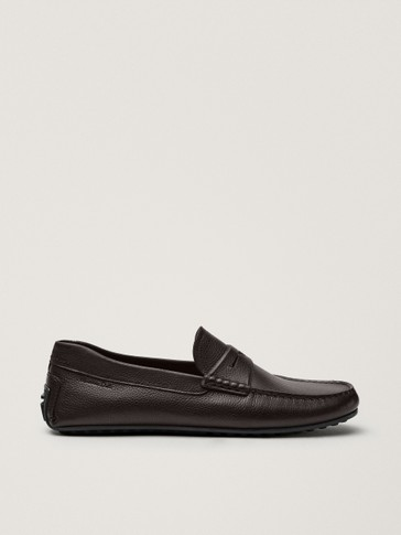 Brown leather kiowa loafers
