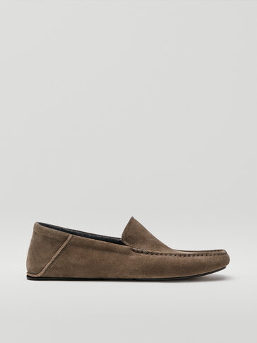Taupe split suede leather house slippers