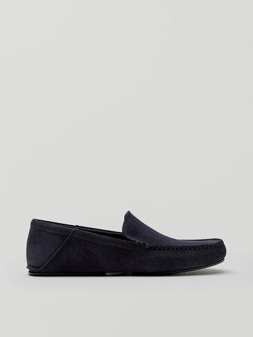 Zapatilla homewear piel serraje azul