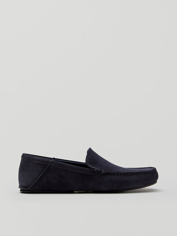 Blue split suede leather house slippers