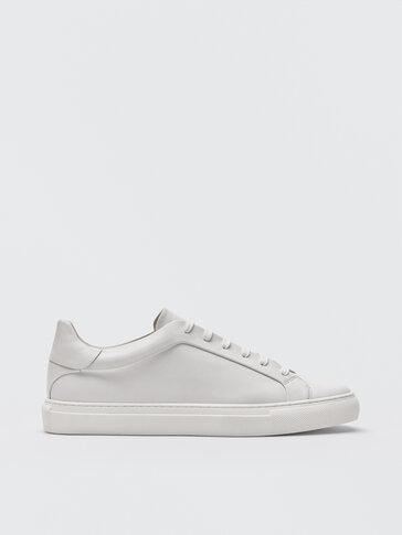 حذاء رياضي أبيض من جلد النابا