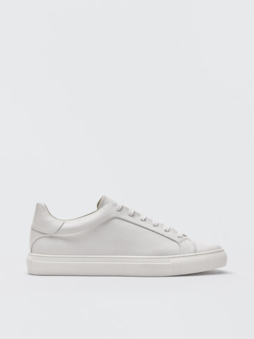 White nappa leather trainers