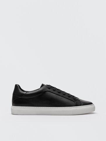 Black nappa leather trainers