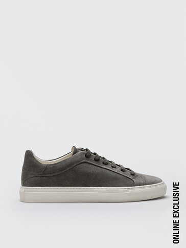 Grey split suede leather trainers