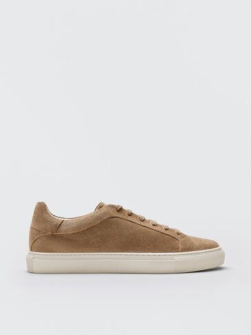 Tan split suede leather trainers