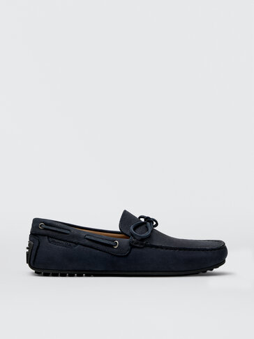 Blue nubuck leather kiowa loafers with bow