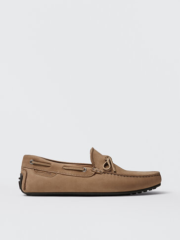 Sand-coloured nubuck leather kiowa loafers with bow