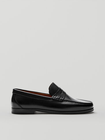 Black nappa leather penny loafers