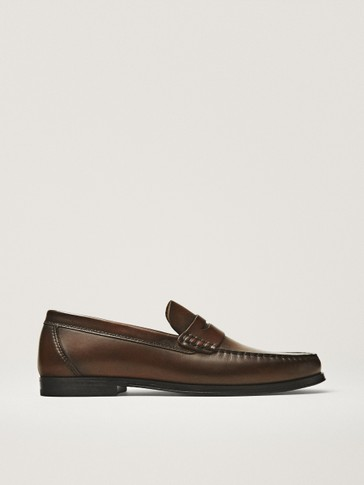 LEATHER STRAP PENNY LOAFERS