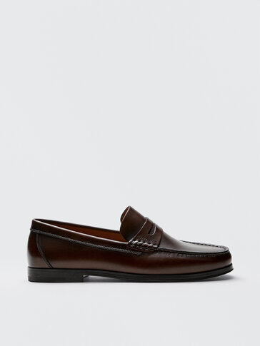 Brown nappa leather penny loafers