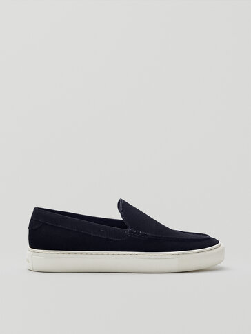 Sporty blue split suede loafers