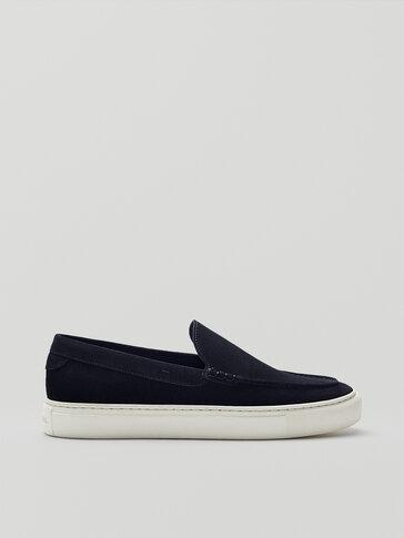 حذاء لوفر رياضي من السويد المقسوم لون أزرق