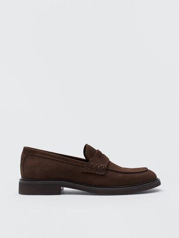 حذاء لوفر بني من جلد السويد المقسوم