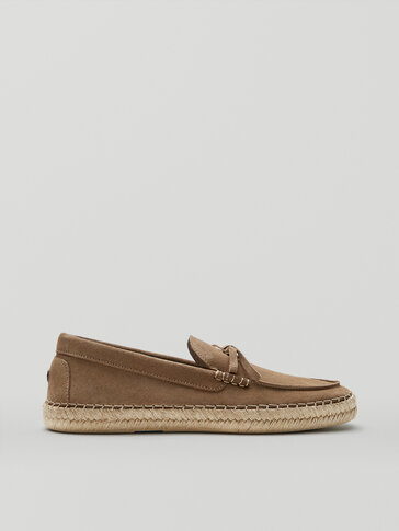 Sand split suede leather espadrilles with bow detail