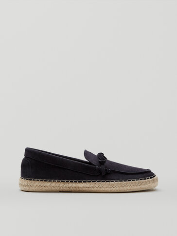 Blue split suede leather espadrilles with bow detail