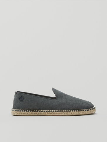 Blue split suede leather espadrilles
