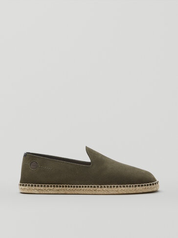 KHAKI SPLIT SUEDE LEATHER ESPADRILLES