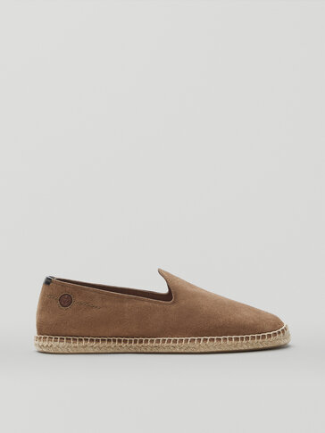 SAND-COLOURED SPLIT SUEDE LEATHER ESPADRILLES