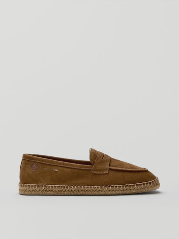 Tan split suede espadrilles with penny strap