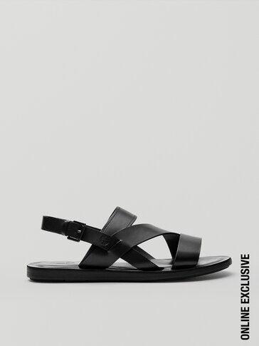 Black leather strappy sandals