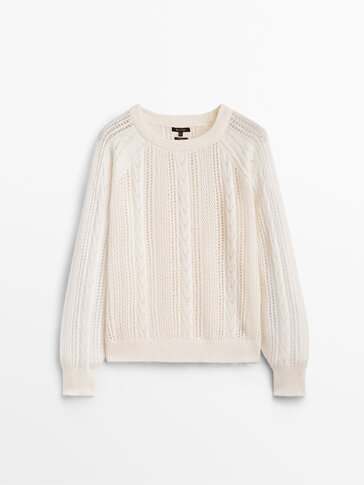 Plaited open knit sweater