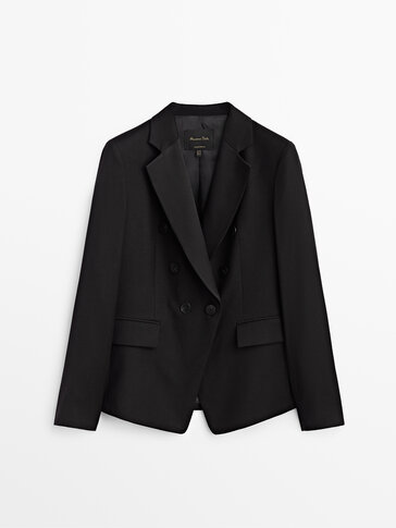Double-breasted wool blazer with satin lapels