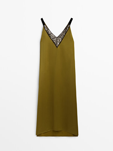 Long strappy dress with sequin detail